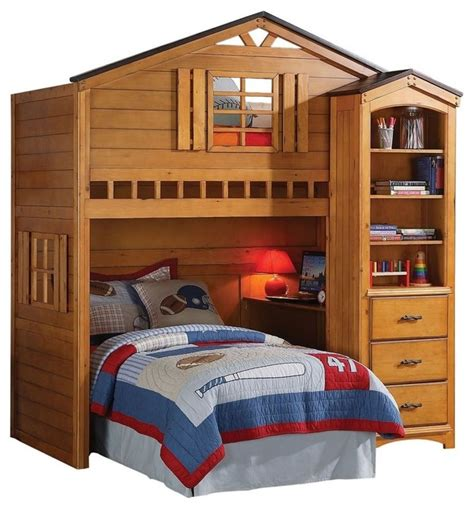 loft bedroom furniture rustic oak tree house twin bunk loft bed w desk