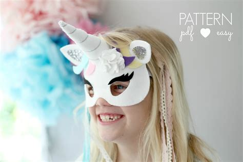 unicorn mask pattern unicorn party mask pattern with horn pdf felt unicorn