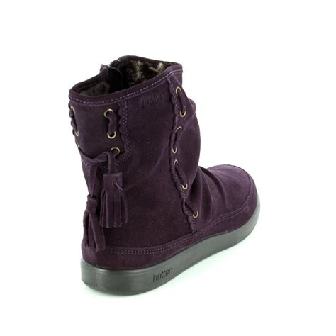 hotter pixie 7204 90 purple suede ankle boots