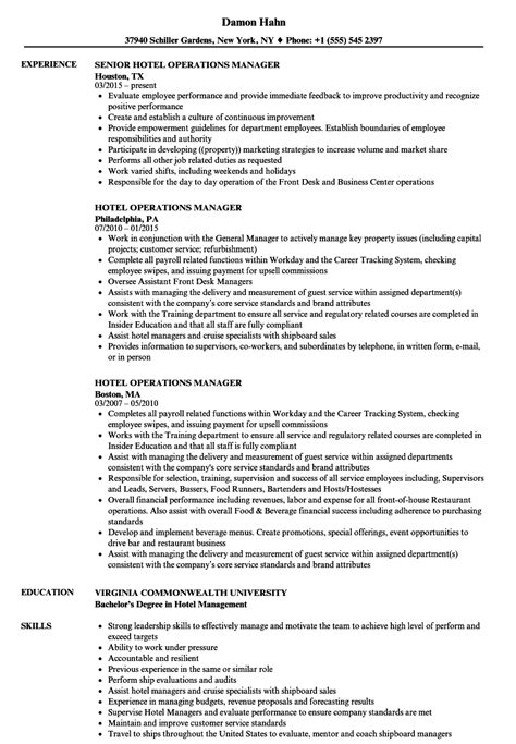 Hotel Manager Resume by Hotel Operations Manager Resume Sles Velvet