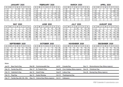 yearly calendar  canada holidays  printable templates