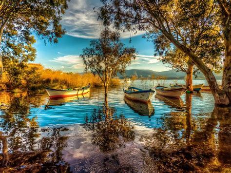 lake boat cane background hd quality desktop wallpaper