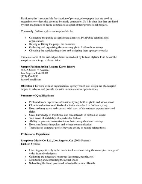 Hair Stylist Resume Sle best hair stylist resume exle recentresumes