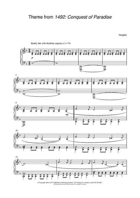 Conquest of paradise sheet music by rhydian (piano, vocal & guitar.