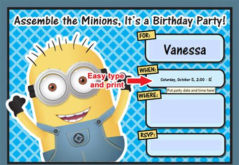 birthday card template minions free printable despicable me minion birthday invitation