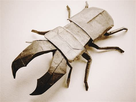 origami stag beetle this week in origami japanese white eye edition