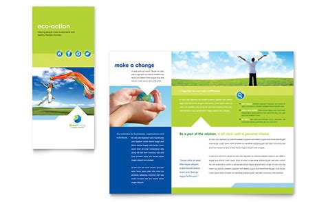 green living recycling tri fold brochure template design