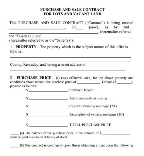 Purchase And Sale Agreement 7 Free Pdf
