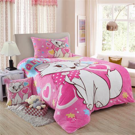 100 Cotton Farley Velvet Cat Print Bedding Set Children Cat Bedding For
