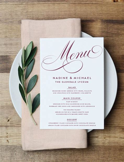 1300 Best Print Images On Pinterest Weddings Invitations And Wedding Ideas Wedding Table Menu Template