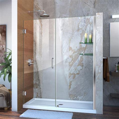 Vintage Shower Doors Dreamline Unidoor 58 To 59 In X 72 In Frameless Hinged Pivot Shower Door In Chrome With Handle