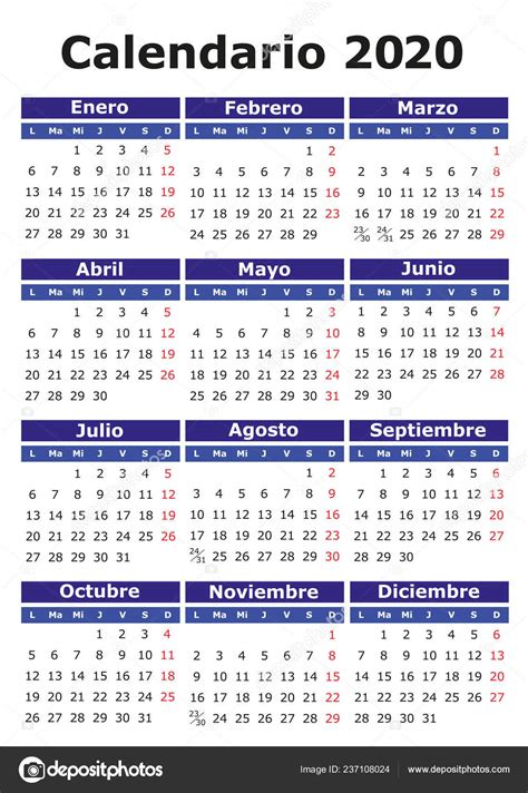 calendario vectorial  espanol facil editar aplicar calendario  archivo imagenes
