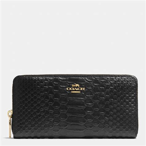 Coach Wallet Embossed Black 1 coach accordion zip wallet in snake embossed leather in black lyst