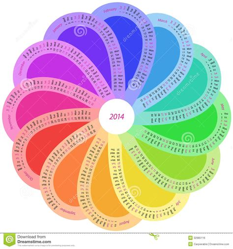 round calendar for 2014 in rainbow color royalty free