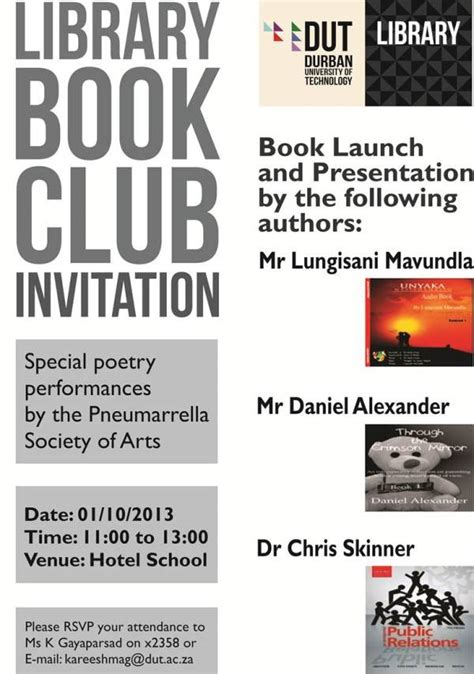 library book club invitation durban of technology