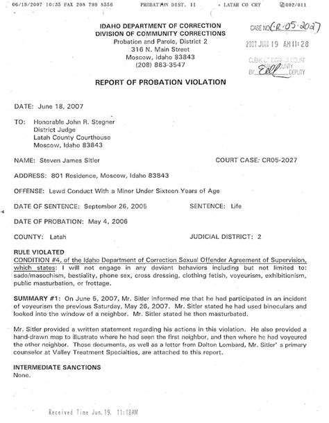 bench warrant probation violation in the district court of the second judicial district of