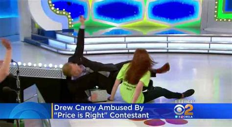 excited price   contestant  knocks host drew carey  stage video