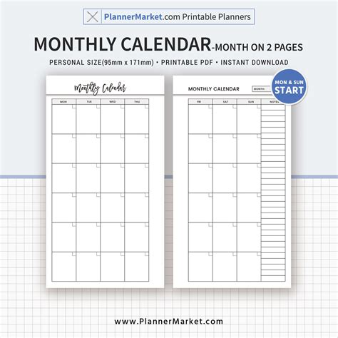 free printable monthly planner refills monthly calendar month on 2 pages 2018 planner personal