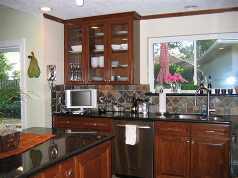 kitchen black galaxy granite cherry cabinets slate tile
