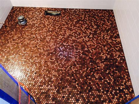 Copper Backsplash Tiles For Kitchen Bathroom Floor Coverd With Pennies