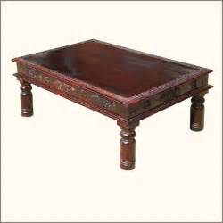 Traditional Coffee Table Mediterranean Brass Solid Wood Inlay Coffee Table