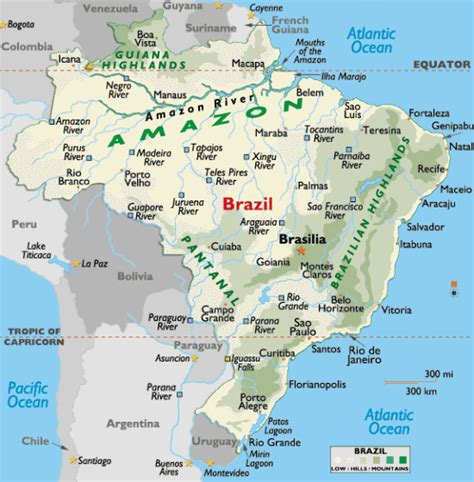 geographical map of brazil brasilien physik karte