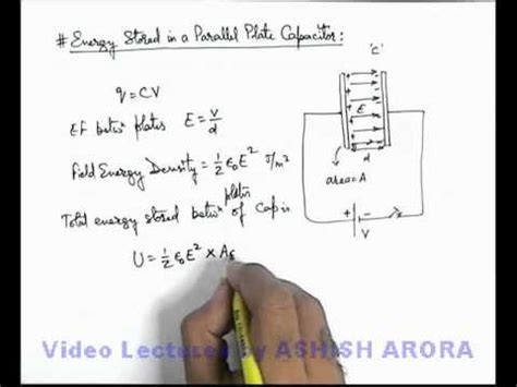 how to work out capacitors in series 14 physics capacitance energy stored in a parallel plate capacitor by ashish arora