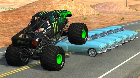 monster truck crashes videos beamng drive monster truck crashes crushing cars jumps