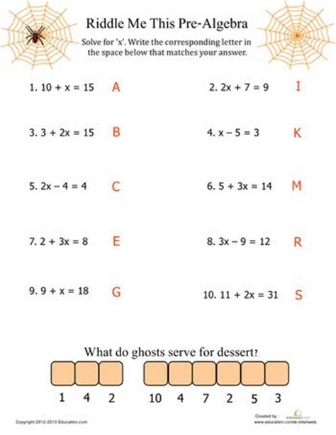 printable math worksheets pre algebra pre algebra fun equation halloween math and esl