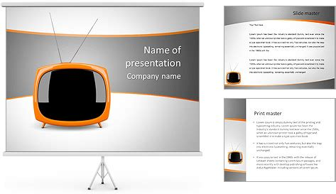 small tv set powerpoint template backgrounds id