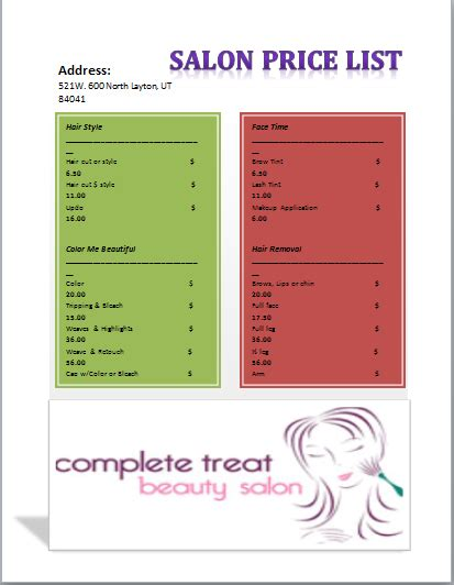 Salon Price List Template Templates Pinterest Price List Salons And Salon Menu Salon Price List Template
