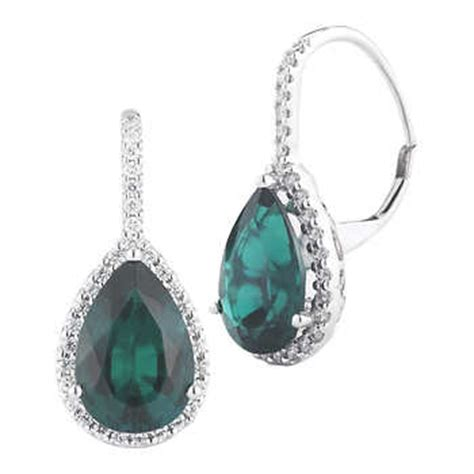 pear shape lab created emerald and 14kt white gold