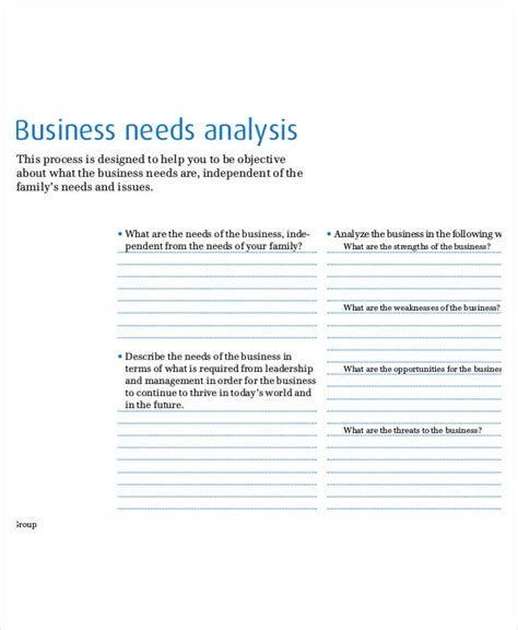 Needs Analysis Templates by Needs Analysis Templates 15 Free Pdf Documents