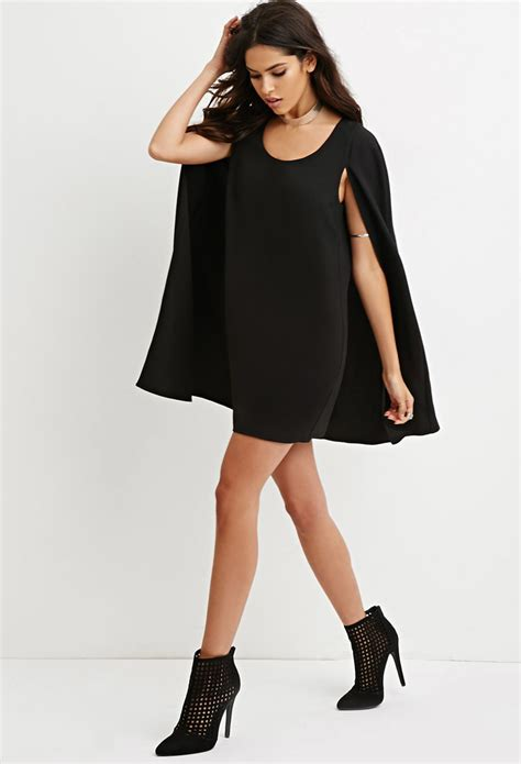 Dress Forever21 Black forever 21 layered cape dress in black lyst