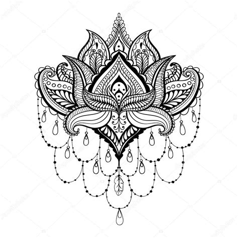 vektor dekorative lotus ethnische zentangled henna tattoo