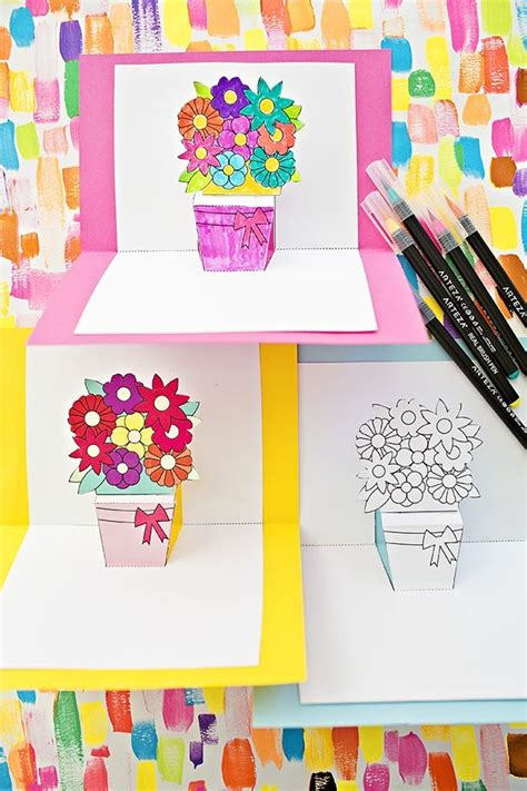 birthday pop up cards templates flower how to make pop up flower cards with free printables