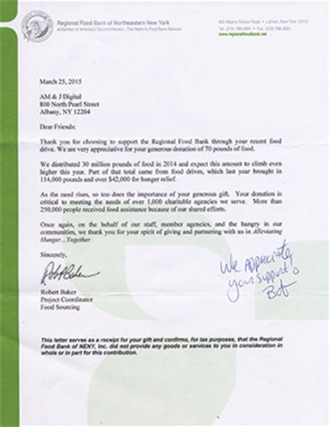 Bank Letter York We Support The Regional Food Bank Of Northeastern New York Am J Digital
