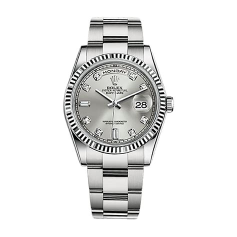 rolex day date 36 118239 white gold silver set with