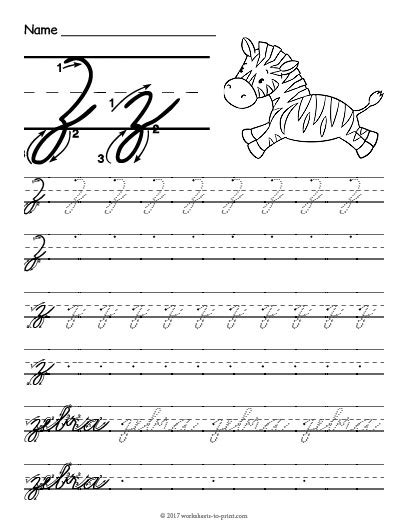cursive handwriting worksheets printable a z cursive z worksheet