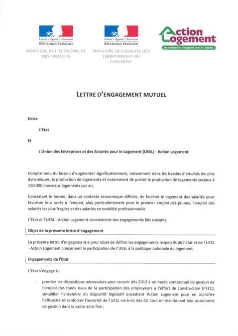 Modeles De Lettre D Engagement Lettre D Engagement Mutuel Entre L Etat Et Logement 12 11 12