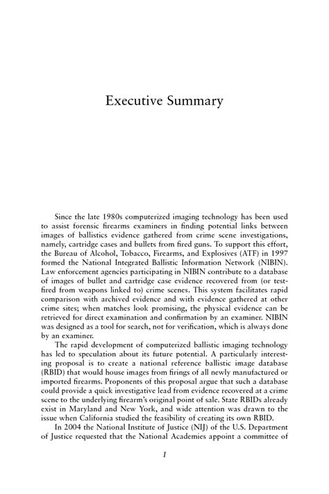 Executive Summary Ballistic Imaging The National Academies Press Executive Summary Feasibility Study Template