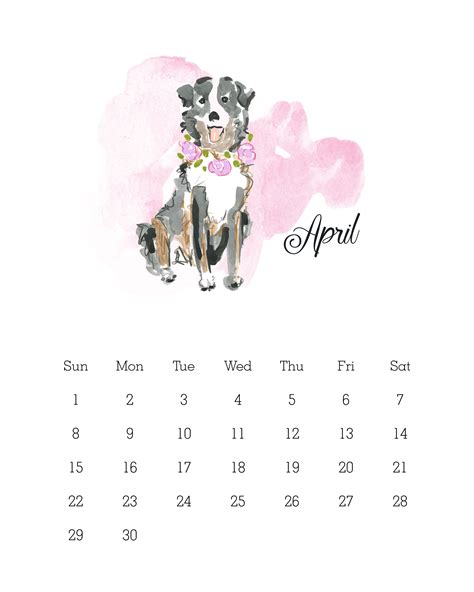 Calendar 2018 Dogs Free Printable 2018 Watercolor Calendar Calendar