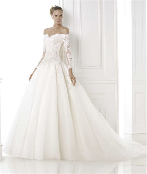 Longsleeve White Brush exquisite sweep brush sequins tulle a line lace the shoulder sleeve wedding