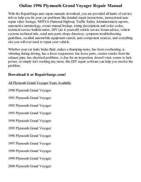 auto repair manual online 1993 plymouth voyager auto manual service manual 1996 plymouth grand voyager service manual free printable voyager grand