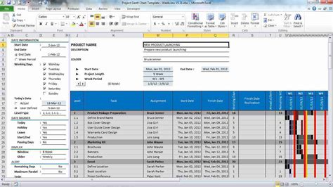 excel project template free gantt chart project plan excel template by