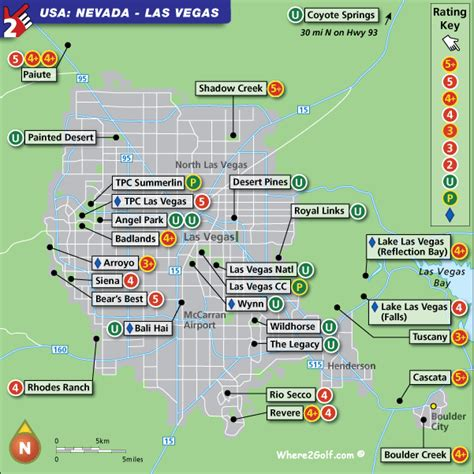 Las Vegas Golf Map with Top Golf Courses and Best Golf Resorts