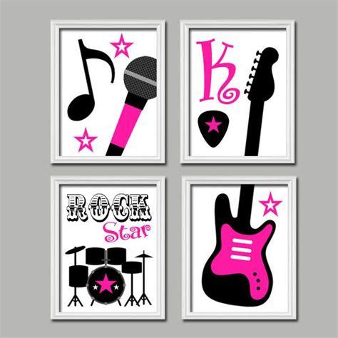 drum decorations for bedroom cute custom name initial pink black rock star microphone