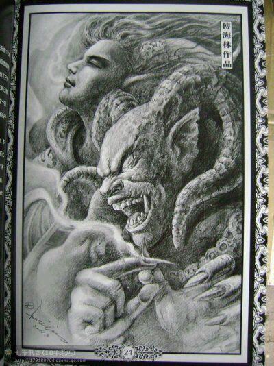 纹身图案佛与魔图片 纹身图案佛与魔图片下载
