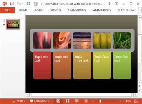 Free Animated Picture List For Powerpoint With Colorful Tabs Powerpoint Templates For Picture Slideshow