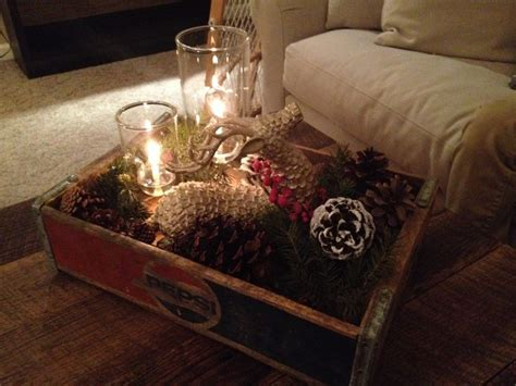 decorating coffee table for christmas ponterest my coffee table decor christmasdecor pinecones jingle bells